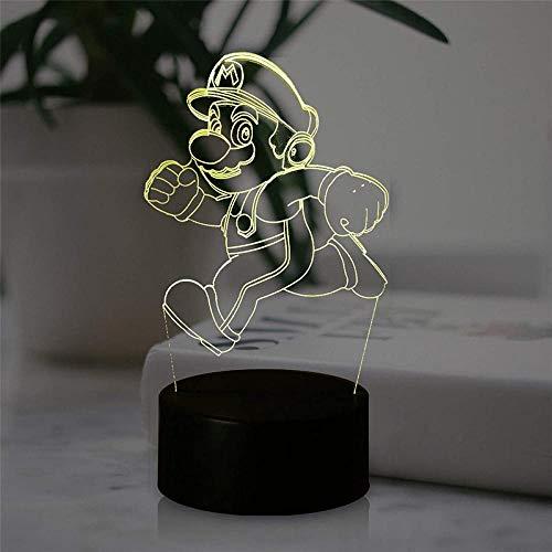 Lámpara de noche de ilusión 3D 3D lámpara de ilusión óptica Super Mario 16 colores cambio automático interruptor táctil lámparas decoración de escritorio regalo de cumpleaños con control remoto