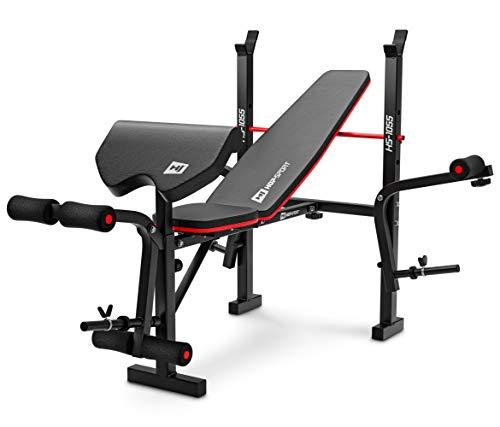 Hop-Sport HS-1055 Banco de pesas plegable con soporte para mancuernas, banco de curl y mariposa, entrenamiento ajustable para press de banca