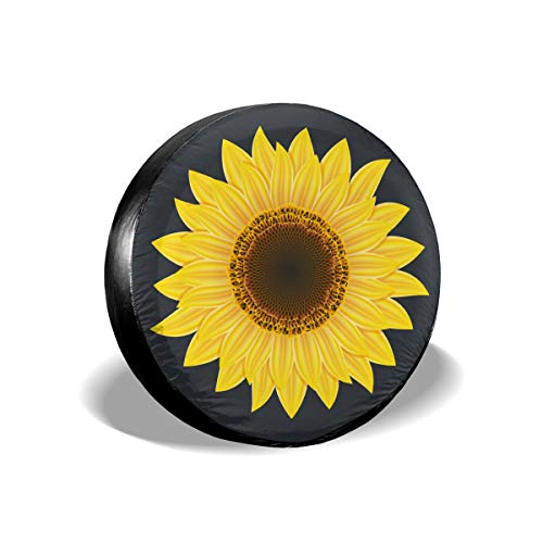Jackmen Spare Tire Cover Sunflower Polyester Universal Dust-Proof Corrosion Protection Wheel Covers for Jeep Trailer RV SUV Truck and Many Vehicles (14' 15' 16' 17')