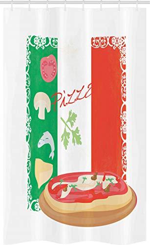 ABAKUHAUS Pizza Schmaler Duschvorhang, Italienische Küche & Flagge, Badezimmer Deko Set aus Stoff mit Haken, 120 x 180 cm, Mehrfarbig