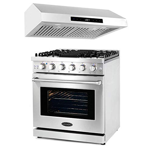 Cosmo 30 Inch 4.5 Cubic Foot Gas Range Convection Oven with 5 Italian Burners and Stainless Steel Under Cabinet Range…