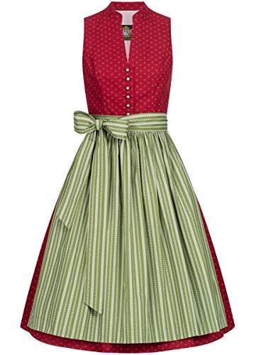 Hammerschmid Damen Trachten-Mode Midi Dirndl Altmühlsee in Rot traditionell, Größe:40, Farbe:Rot