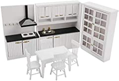 Size: Kitchen sink: width 16.5* thickness 4.7* height 18.5CM,Kitchen smoking machine: width 11* thickness 4.7* height 18.5CM,Dining table: length 10.5*width 6.5*height 6.5CM, Size:Chair: Length 4*Width 4*Height 8.3CM,Three-layer four-door cabinet: wi...