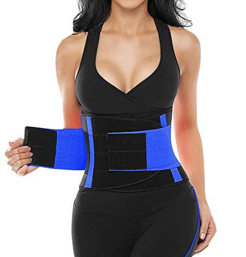 SHAPERX Women Velcro Hourglass Waist Trimmer Belt - Sports Workout Slimming Tummy Control Belly Band Waist Trainer Belts, SZ8002-Blue-L