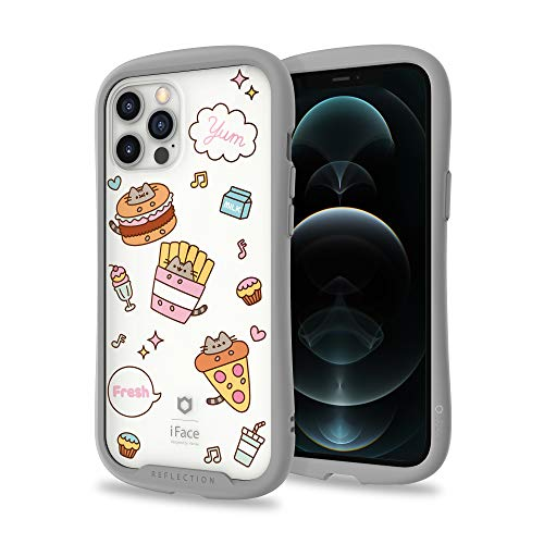iFace x Pusheen [Inner Sheet + Reflection] Designed for iPhone 12 Pro Max (6.7') – Cute Shockproof [9H Tempered Glass + Bumper] Clear Case with Decorative Insert – Fast Food