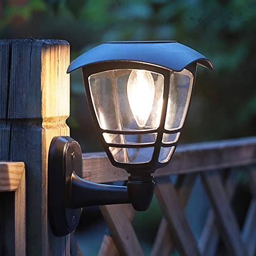 MAGGIFT 2 Pack Solar Powered Wall Lantern, Outdoor 10 Lumen LED Edison Bulb Solar Warm White Lights Wall Sconce with No Wiring Required,Fixture with Wall Mount Kit