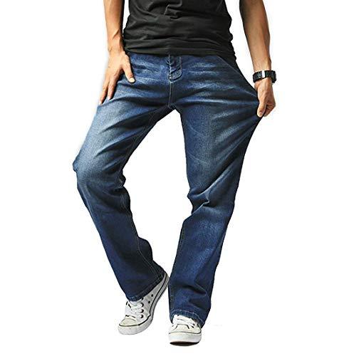 Hiloyaya 大きいサイズ メンズ ジーンズ ストレッチ ストレート デニム パンツ メンズジーパン ゆったり カジュアル おしゃれ (36, ブルー)…