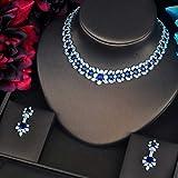 Shability Forma De Guirnalda De Lujo Enlaid Azul CZ Pave Shiny Women Jewelry Conjuntos Collar Conjuntos Accesorios De Vestir yangain (Color : Platinum Plated)
