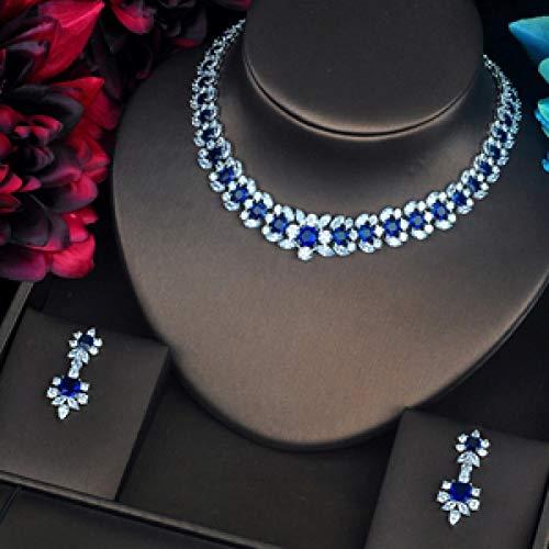 AMINIY Forma De Guirnalda De Lujo Enlaid Azul CZ Pave Shiny Women Jewelry Conjuntos Collar Conjuntos Accesorios De Vestir (Color : Platinum Plated)