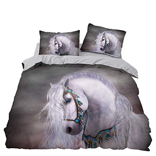 BATTE Juego de funda de edredón de caballo, diseño de animales en 3D, funda de edredón suave con fundas de almohada para habitación familiar de hotel, 220 x 240 cm