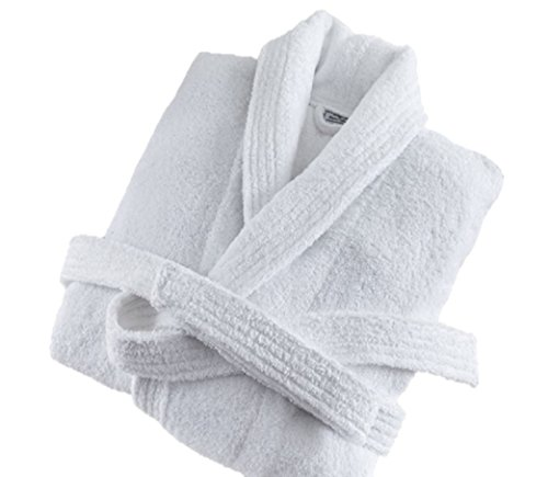 Deluxe Luxury Womens Robe, 100% Cotton White Soft Terry Bathrobe