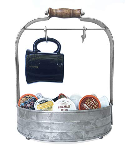 Autumn Alley Rustic Galvanized Coffee Mug Rack Organizer for Kitchen Counter | Mug Tree with Cup Hooks and Basket for Storage of k Cups and Accessories | Perfect for Coffee Bar