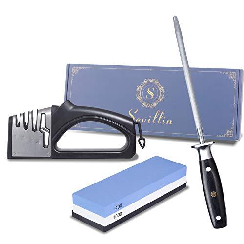 Sevillin knife sharpener4 in 1 Professional Kitchen Sharpener for KnivesWhetstoneDouble Grit 400/10008 inches Carbon Steel professional Knife Sharpening Rod