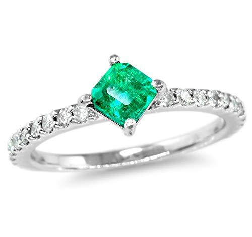 【鑑別付】K18WG 天然エメラルド 0.25ct ダイヤモンド 0.22ct 7-15号 コロンビア産エメラルド 18金ホワイトゴールド 指輪 レディース リング (10号)