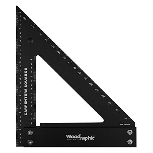 Woodraphic Professional Carpenter Square Layout Tools Framing Woodworking Rafter Angle Guaranteed Ruler for Measuring and Marking Tool Carpentry Use - Aluminium/Angle Scale/Easy-Read - 8 Inch Imperial