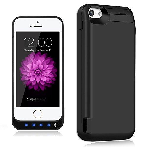 TQTHL Schutzhülle für iPhone 5/5S/SE/5C (wiederaufladbar, 4.800 mAh) Hülle mit Ständer 4800mAh iP 5/5S/5C/SE Battery Case-Black