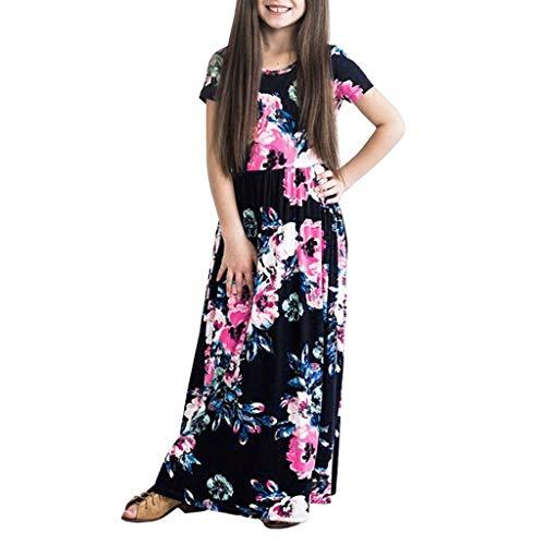 YWLINK Casual Vestido Largo De Boho De La ImpresióN NiñAs Manga Corta Verano Vestido Estampado Floral Fiesta1-10 AñOs De Edad La Moda Verano Vestido De Fiesta