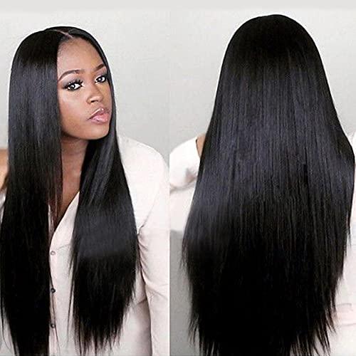 Schwarze Perücke, langes, gerades Haar, weibliche lange, gerade geteilte Perücke, Rose-net chemische Faser Perücke ist für Frauen geeignet