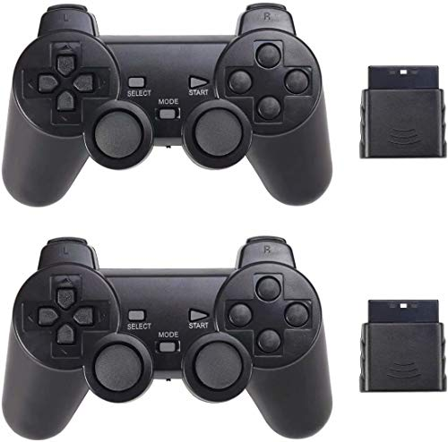 Wireless Controller for PS2 Playstation 2 Dual Shock 2 (Black and Black)
