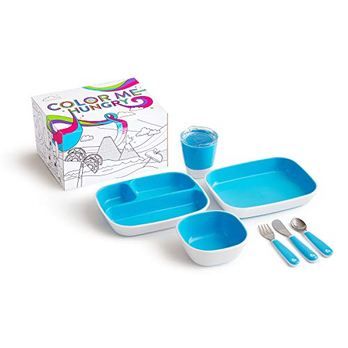 Munchkin Colour Me Hungry Splash 7-Piece Toddler Dining Gift Set in Unicorn Themed Colouring Box, Blue