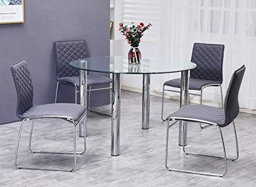 Best Master Furniture Tarina 5 Pcs Round Glass Top Dinette Set, Grey