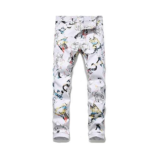 LNLW Broeken Slim Pants Voeten Witte Elastische Straight leg jeans (Size : 34)