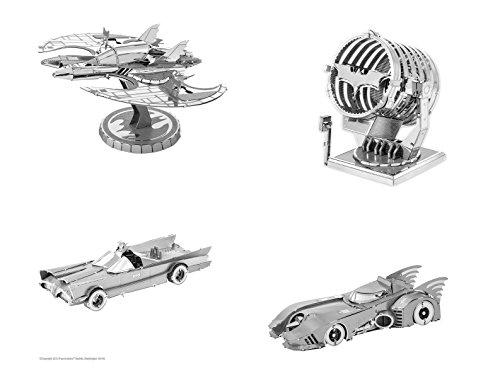 Fascinations Metal Earth 3D Metal Model Kits Batman Set of 4 - 1989 Batmobile - Classic TV Series Batmobile - Batwing - Bat-Signal