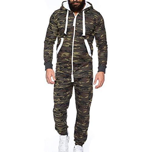 Celucke Unisex Herren Damen Jumpsuit Jogger Jogging Anzug Trainingsanzug Sportanzug Jogginganzug Overall Camouflage, Farbe Grün Weiß Größe M-3XL