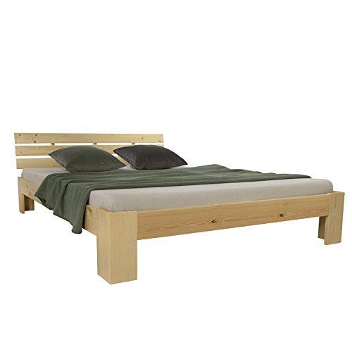 Homestyle4u 1839, Holzbett 180 x 200 cm, Doppelbett mit Lattenrost, Natur, Kiefer Massivholz