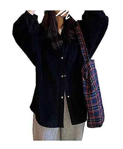 CYSTYLE Retro Vintage Damen Cord Hemd Cordjacke Freizeit Jacken Oberteile Casual Langarm Outwear (Schwarz, One Size)
