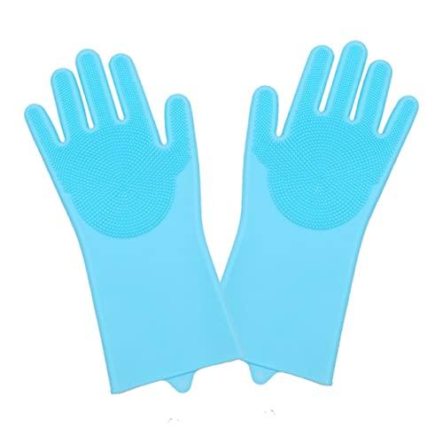 1 par de Guantes para Lavar Platos, Guantes mágicos de Limpieza de Platos de Silicona con Cepillo de Limpieza, Guantes para Fregar la Limpieza de la Cocina-Blue a Pair