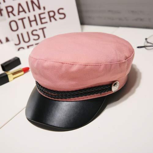 Moda Mujer Hombre Sombrero Primavera Otoo Sombreros de Marinero Negro Seoras Boina Gorras Tapa PlanaSombrero de Viaje Cadete Octagonal-Pink