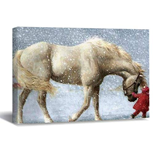 Horse and Girl Wrapped Canvas Canvas Picture Painting Artwork Wall Art Poto Framed Canvas Prints for Bedroom Living Room Home Decoration, Ready to Hanging 8'x12'