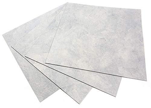 ROSEROSA Peel and Stick Engineered PVC Tiles Stone Concrete Pattern Durable Vinyl Flooring (ECK-202 : Square 4 Tiles)