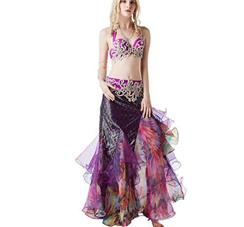 SMACO Beste Dans Dames Buik Dans Kostuum, Kleur diamant kralen beha tas hip stiksels jurk buik dans show set