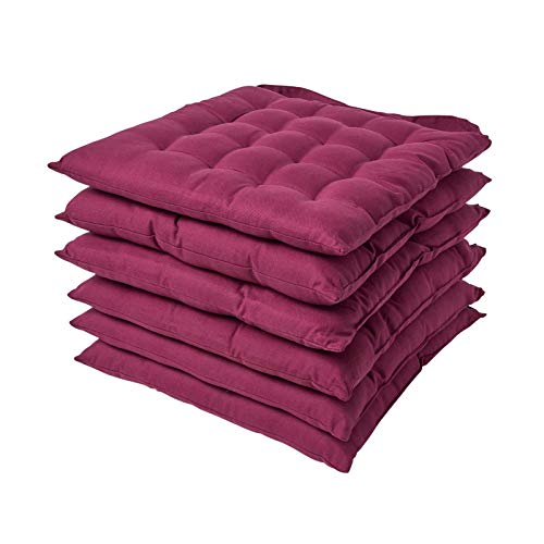 HOMESCAPES Plum Seat Pads for Dining Chair, Set of 6 100% Cotton Chair Pads with Straps, 40x40 cm