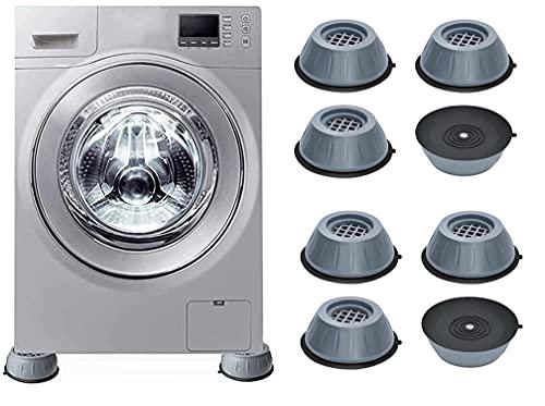 Almohadillas de soporte antivibración para lavadora, soporte para lavadora con cancelación de ruido y golpes Almohadillas antivibración antideslizantes, para pedestales de lavadora y secadora (8PCS)