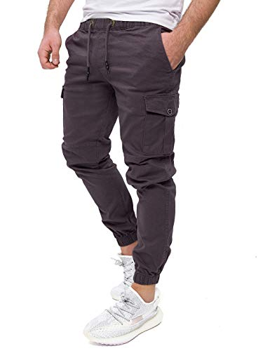 PITTMAN Cargo Hose Männer Darius - graue Cargohose - Herren Chinos anthrazit - Jogginghose - Pants by Pit Jeans, Grau (Nine Iron), W33/L32