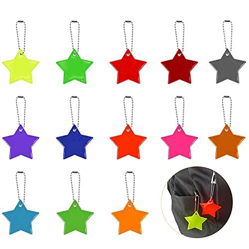 VOSSOT Reflektierend Anhänger, 13 Stück Kinder Sicherheits Stern Reflektor Anhänger, Outdoor Sport Reflektierendes Etikett für Schultasche Rucksack Nacht Radfahren Laufen(13 Farben)