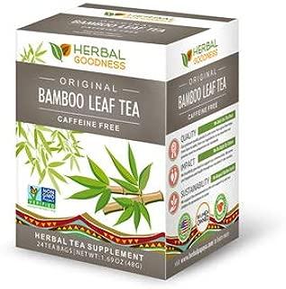 Bamboo Leaf Tea - Natural Silica - Vegan Collagen Superfood - Silica & Dietary Fiber Hair Skin Nail & Joint Supplement, Bone Density - Reduce Wrinkles Anti Aging - Slimming Diet Tea - 24/2g Teabags…