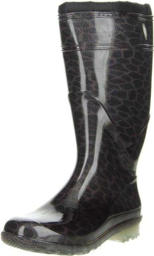 G&G Damen wasserdichte Gummistiefel Winterstiefel gefüttert Leopard, Größe:41, Farbe:Braun