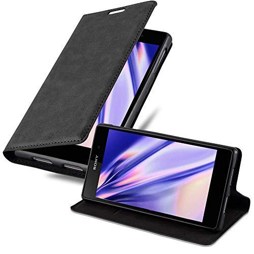 Cadorabo Hülle für Sony Xperia Z1 in Nacht SCHWARZ - Handyhülle mit Magnetverschluss, Standfunktion & Kartenfach - Hülle Cover Schutzhülle Etui Tasche Book Klapp Style
