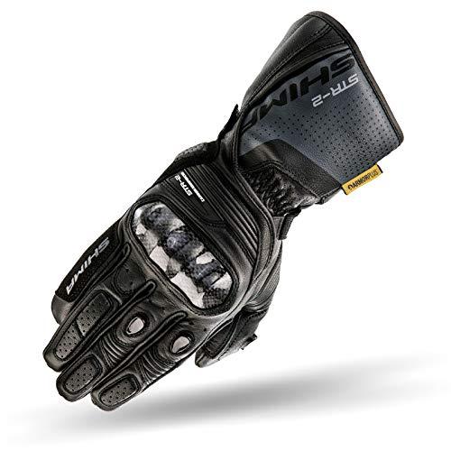 SHIMA STR-2, Motorrad Handschuhe Touchscreen Sommer Leder Sport Carbon Touchscreen Herren Motorradhandschuhe mit Protektoren, Schwarz, Größe L