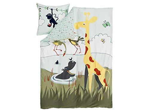 FLEXA Safari Bettwäsche für Kinderbett Decke 140x200cm; Kissen 80x80cm 83-70434