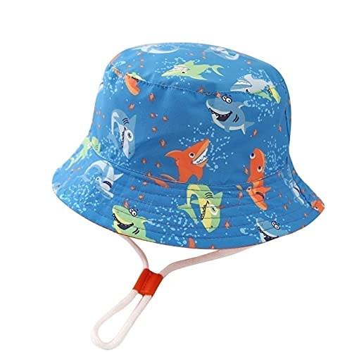 SKYWPOJU Baby sun hat girls children summer hat cotton cap boys sun protection fisherman hat with print pattern (Color : Blue, Size : 9-12 Months)