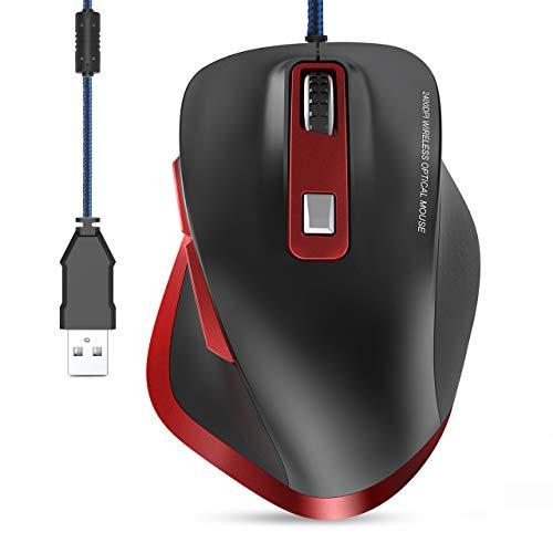 TedGem Maus, PC Maus Mit Kabel USB Maus mit Kabel Ergonomische Laptop Maus mit Kabel 6Tasten 4DPI(3200-2400-1200-800), Gaming Maus 1.5 Meter Kabel Für Windows 7/8/10 / XP, Vista, Linux und MacOS