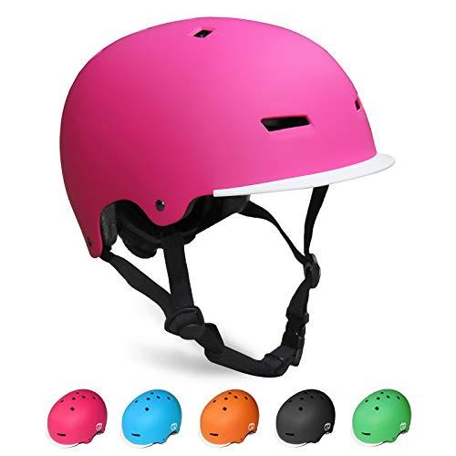 KORIMEFA Kinder Skateboard Helm Kind Fahrrad Schutzhelm 3-13 Jahre alt Jungen und Mädchen Kinder Verstellbarer Helm BMX Reiten Roller Inline Skating (Pink, S)