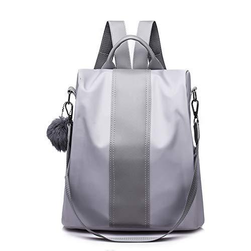 Segater® Frauen Rucksack Geldbörse Wasserdichter Nylon Rucksack für den Diebstahlschutz Schultertaschen 2 Wege umwandelbarer Rucksack Schultaschen mit Haarkugel-Anhänger Grau
