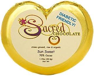 Sacred Chocolate SUN SWEET -- DIABETIC FRIENDLY -- SUGAR FREE, Stone-Ground, Organic Vegan RAW Chocolate 70% Cacao 1.44oz ...