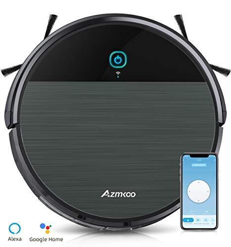 AZMKOO Staubsauger Roboter,Saugroboter Roboter Kompatibel WLAN mit App/Alexa/Wischfunktion für Staubsauger Teppich/Hartböden Tierhaare,Fallschutz